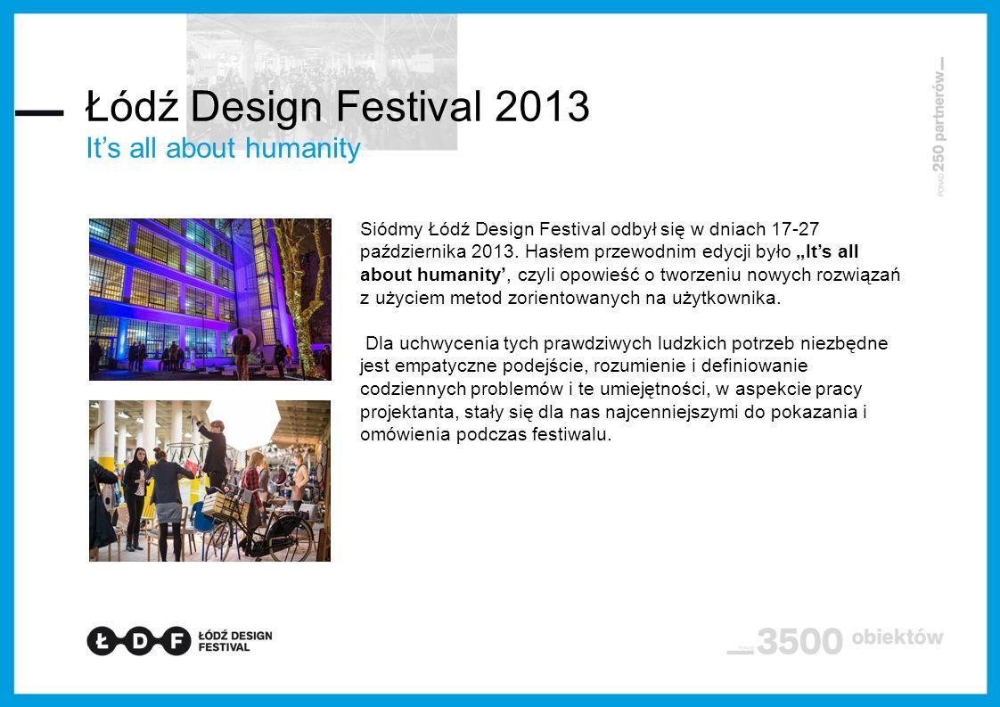 It's all about humanity Siódmy Łódź Design Festival odbył się w dniach 17-27 października 2013.