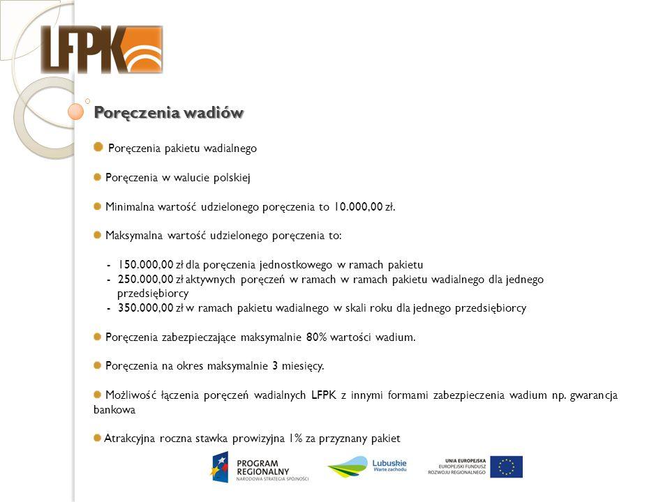 Poręczenia wadiów Poręczenia pakietu wadialnego Poręczenia w walucie polskiej Minimalna wartość udzielonego poręczenia to 10.000,00 zł. Maksymalna war