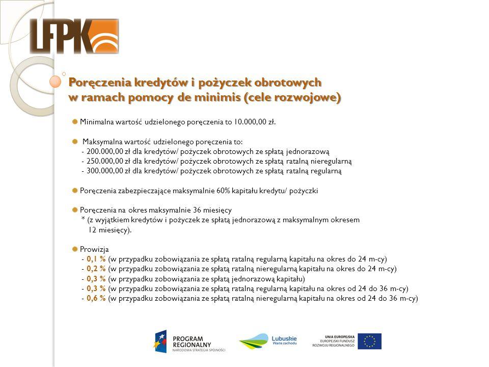 Poręczenia kredytów i pożyczek obrotowych w ramach pomocy de minimis (cele rozwojowe) Minimalna wartość udzielonego poręczenia to 10.000,00 zł. Maksym