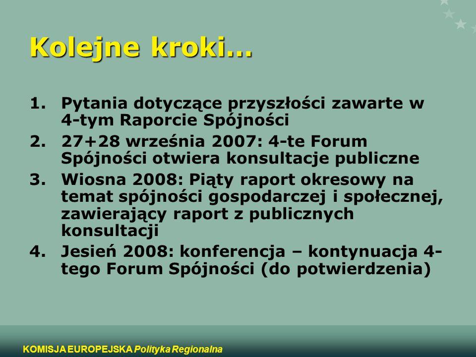 15 KOMISJA EUROPEJSKA Polityka Regionalna Kolejne kroki… 1.Pytania dotyczące przyszłości zawarte w 4-tym Raporcie Spójności 2.27+28 września 2007: 4-t