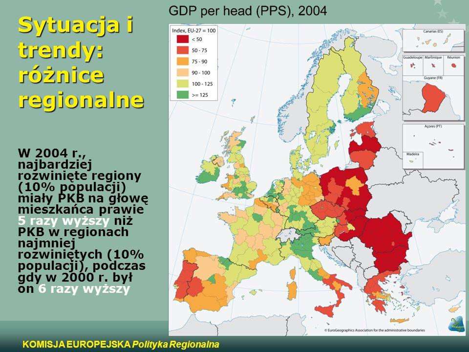 2 KOMISJA EUROPEJSKA Polityka Regionalna Sytuacja i trendy: różnice regionalne W 2004 r., najbardziej rozwinięte regiony (10% populacji) miały PKB na