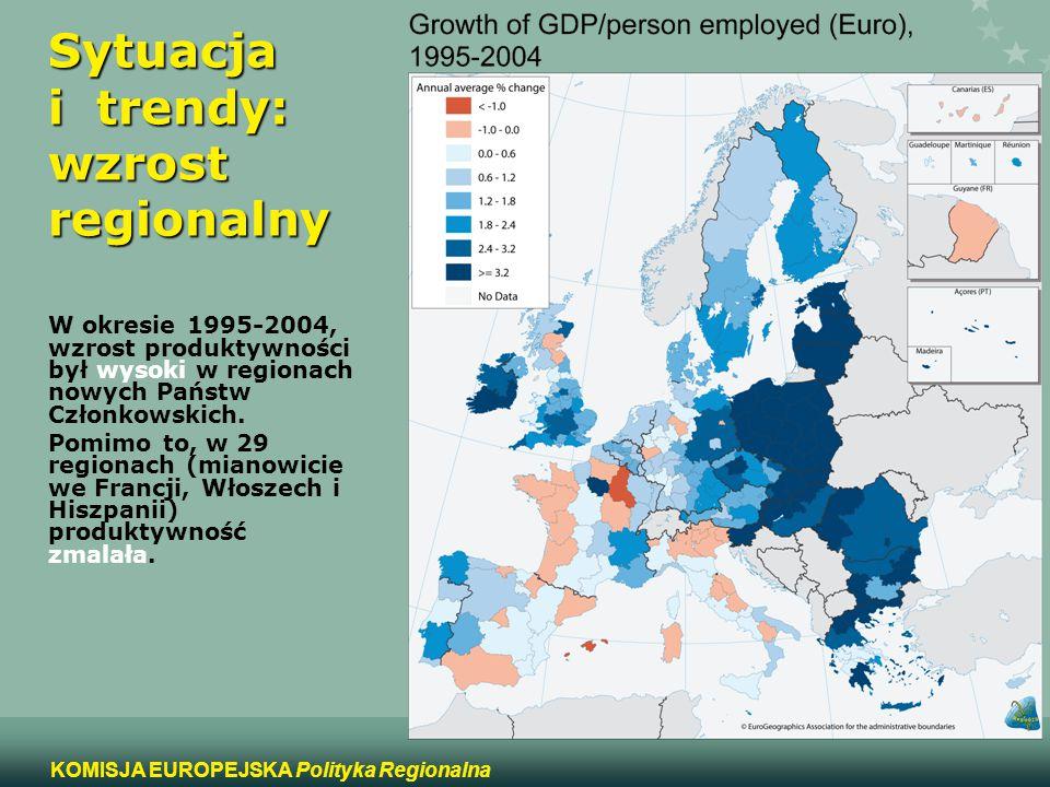 3 KOMISJA EUROPEJSKA Polityka Regionalna Sytuacja i trendy: wzrost regionalny W okresie 1995-2004, wzrost produktywności był wysoki w regionach nowych
