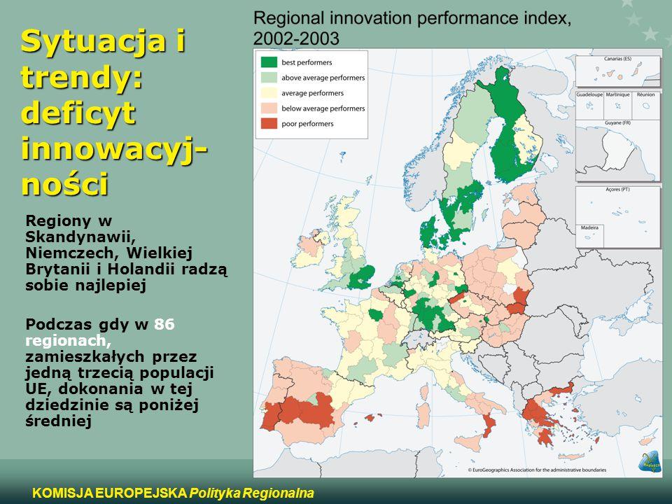 5 KOMISJA EUROPEJSKA Polityka Regionalna Sytuacja i trendy: deficyt innowacyj- ności Regiony w Skandynawii, Niemczech, Wielkiej Brytanii i Holandii ra