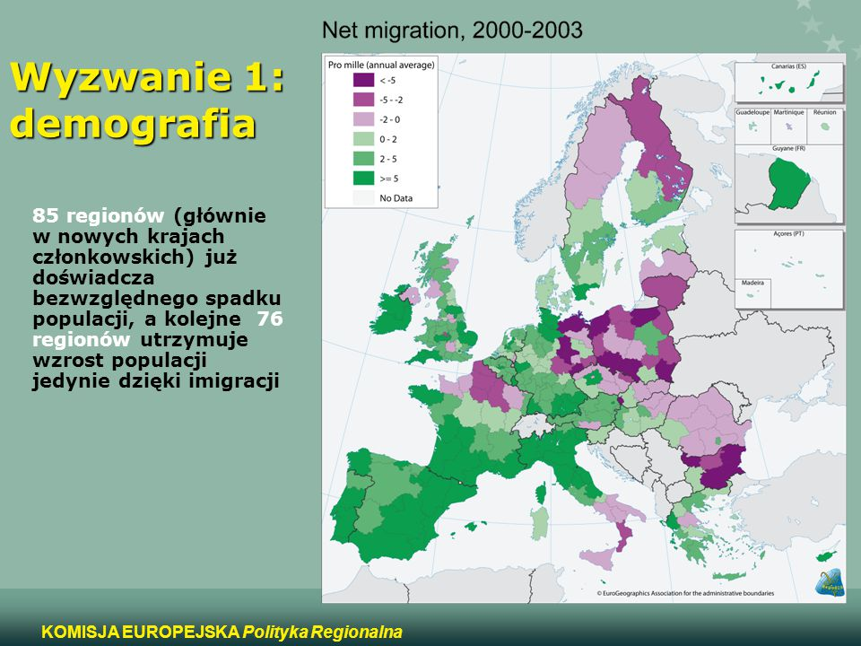 6 KOMISJA EUROPEJSKA Polityka Regionalna Wyzwanie 1: demografia 85 regionów (głównie w nowych krajach członkowskich) już doświadcza bezwzględnego spad