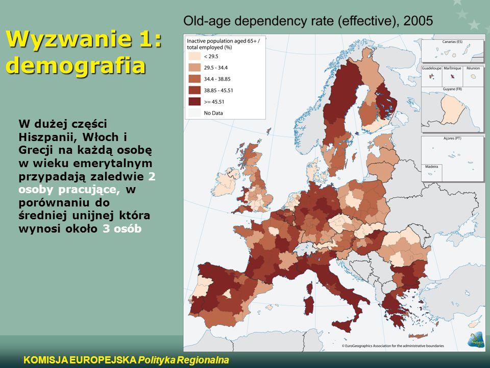 8 KOMISJA EUROPEJSKA Polityka Regionalna Wyzwanie 2: struktura przemysłowa i restruktu- ryzacja W 39 regionach ponad 3% całkowitego zatrudnienia skupione jest w przemyśle tekstylnym, odzieżowym i skórzanym, (dwukrotna średnia unijna), osiągając nawet 13% w portugalskim regionie Norte