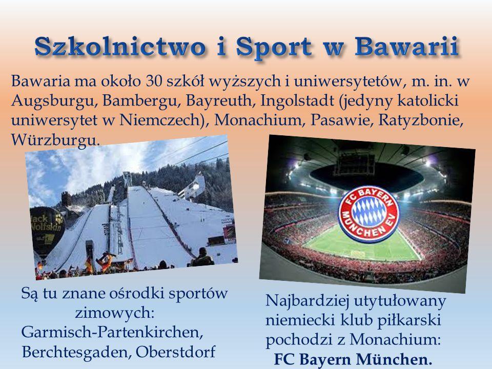 Mieszkańcy: ponad 12 mln Stolica: Monachium (München) Przemysł: elektroniczny, maszynowy, lotniczy, włókienniczy, rafineryjny Firmy: Bayerische Motore