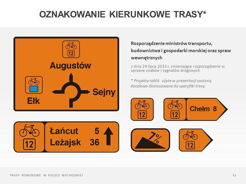 TRASY ROWEROWE W POLSCE WSCHODNIEJ11 Rozporządzenie ministrów transportu, budownictwa i gospodarki morskiej oraz spraw wewnętrznych z dnia 24 lipca 2013 r.