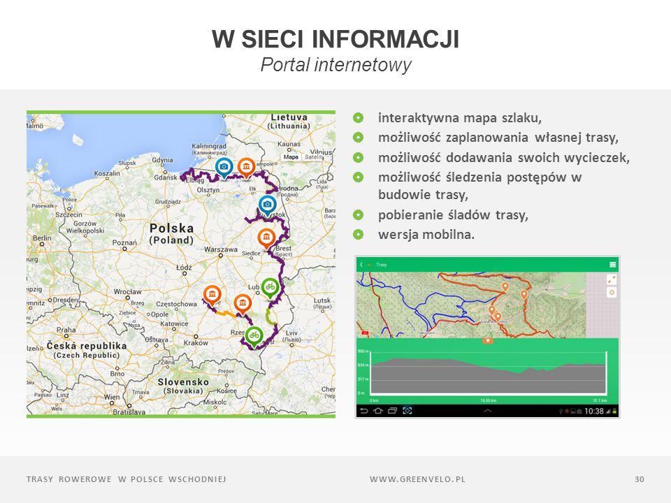 TRASY ROWEROWE W POLSCE WSCHODNIEJ30 interaktywna mapa szlaku, możliwość zaplanowania własnej trasy, możliwość dodawania swoich wycieczek, możliwość śledzenia postępów w budowie trasy, pobieranie śladów trasy, wersja mobilna.