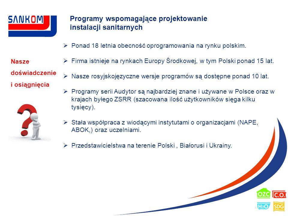 Programy wspomagające projektowanie instalacji sanitarnych Nasze doświadczenie i osiągnięcia  Ponad 18 letnia obecność oprogramowania na rynku polski