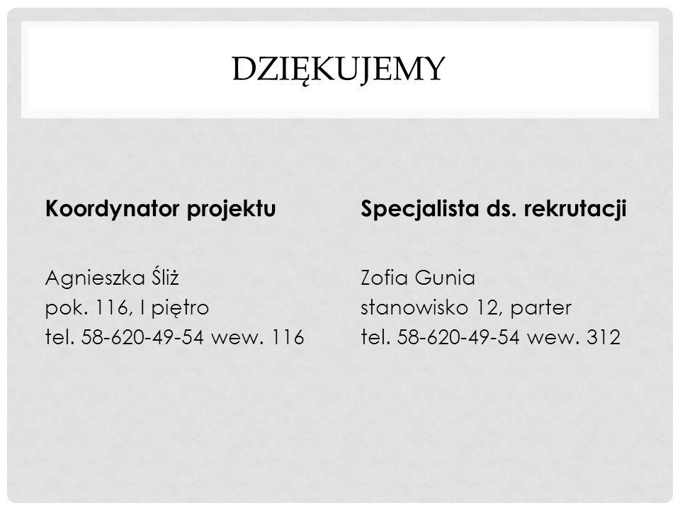 DZIĘKUJEMY Koordynator projektu Agnieszka Śliż pok. 116, I piętro tel. 58-620-49-54 wew. 116 Specjalista ds. rekrutacji Zofia Gunia stanowisko 12, par
