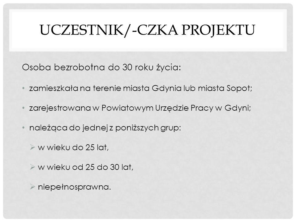 UCZESTNIK/-CZKA PROJEKTU Osoba bezrobotna do 30 roku życia: zamieszkała na terenie miasta Gdynia lub miasta Sopot; zarejestrowana w Powiatowym Urzędzi