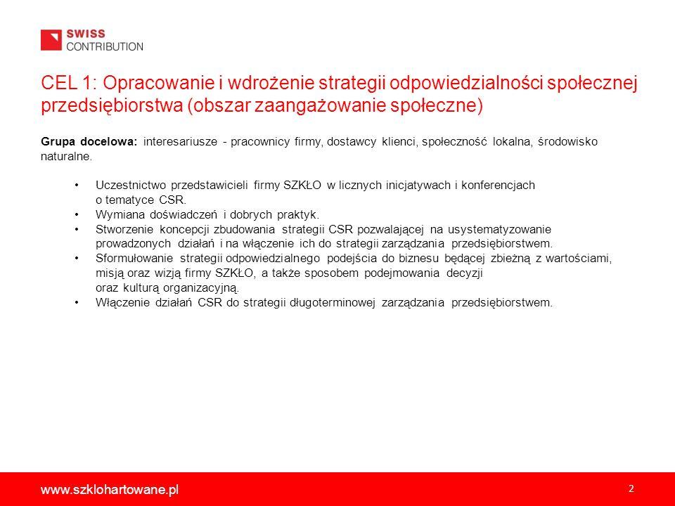 2 www.szklohartowane.pl CEL 1: Opracowanie i wdrożenie strategii odpowiedzialności społecznej przedsiębiorstwa (obszar zaangażowanie społeczne) Grupa docelowa: interesariusze - pracownicy firmy, dostawcy klienci, społeczność lokalna, środowisko naturalne.
