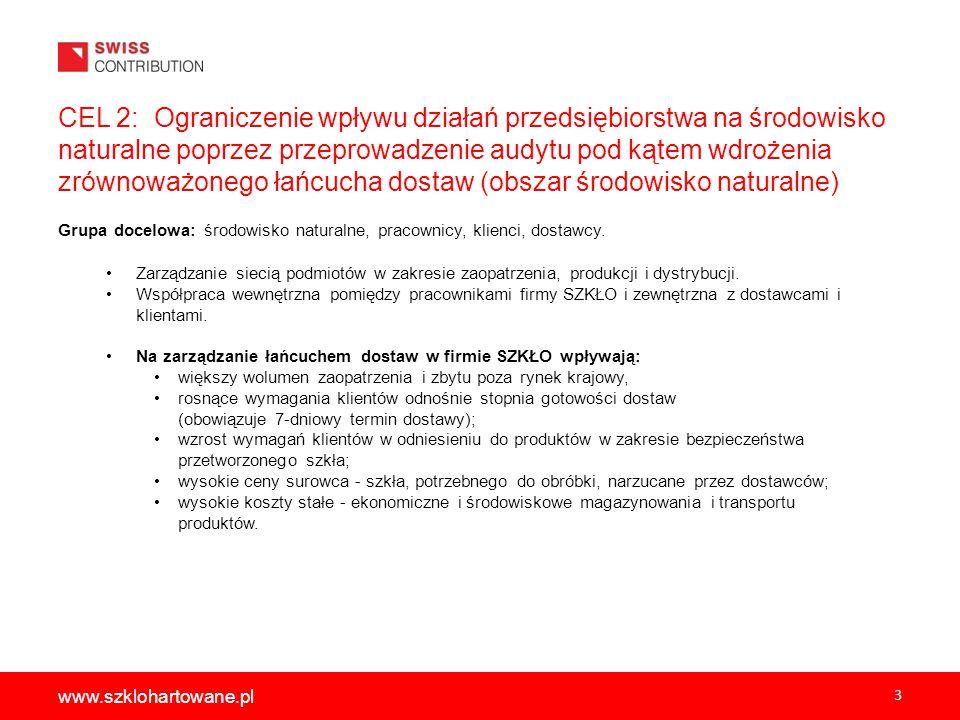3 www.szklohartowane.pl CEL 2: Ograniczenie wpływu działań przedsiębiorstwa na środowisko naturalne poprzez przeprowadzenie audytu pod kątem wdrożenia zrównoważonego łańcucha dostaw (obszar środowisko naturalne) Grupa docelowa: środowisko naturalne, pracownicy, klienci, dostawcy.