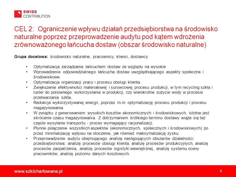 4 www.szklohartowane.pl CEL 2: Ograniczenie wpływu działań przedsiębiorstwa na środowisko naturalne poprzez przeprowadzenie audytu pod kątem wdrożenia zrównoważonego łańcucha dostaw (obszar środowisko naturalne) Grupa docelowa: środowisko naturalne, pracownicy, klienci, dostawcy.