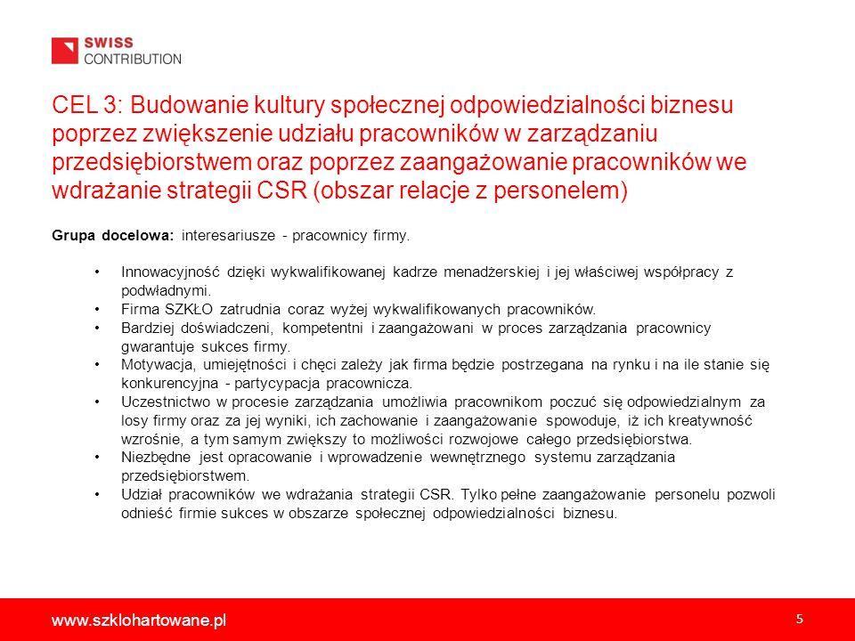 6 www.szklohartowane.pl CEL 4: Wzmocnienie pozytywnych relacji z personelem przedsiębiorstwa poprzez poprawę równego traktowania pracowników produkcji bez względu na płeć.