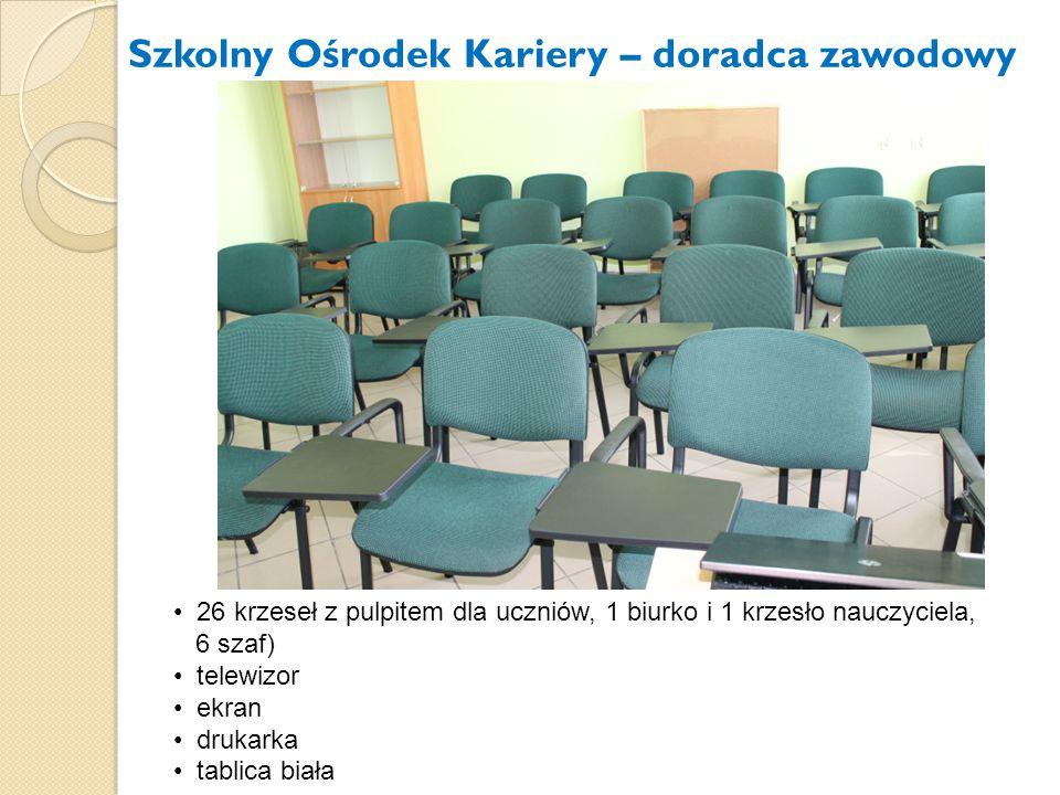 Szkolny Ośrodek Kariery – doradca zawodowy 26 krzeseł z pulpitem dla uczniów, 1 biurko i 1 krzesło nauczyciela, 6 szaf) telewizor ekran drukarka tabli