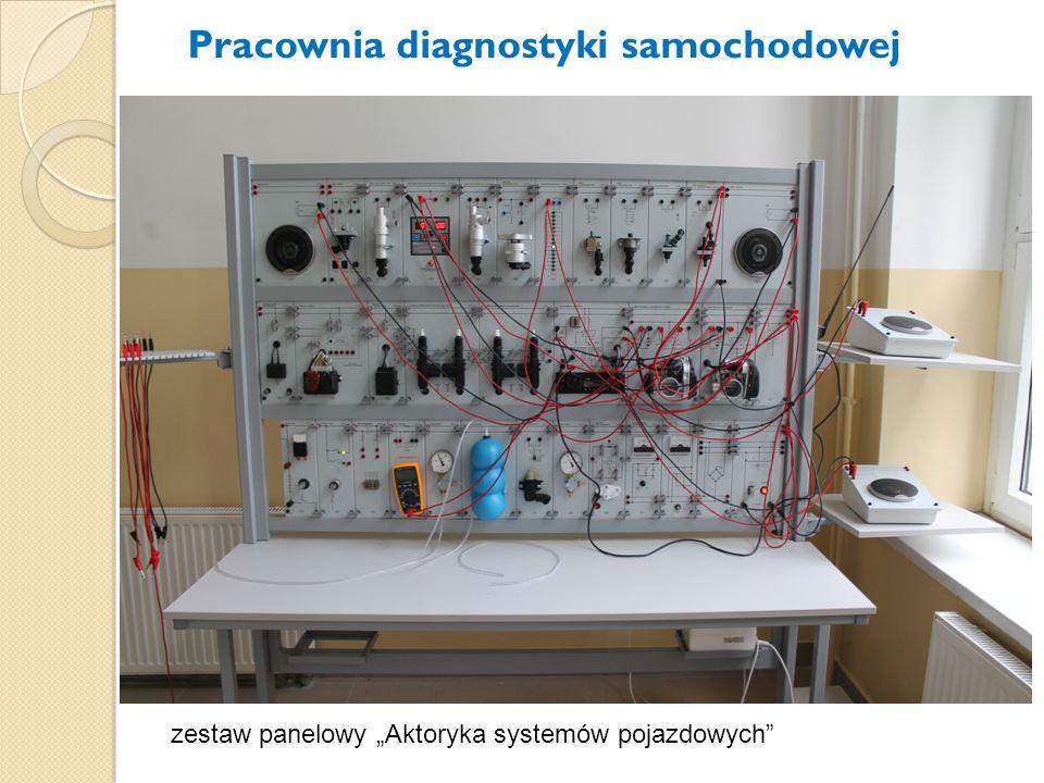 """zestaw panelowy """"Aktoryka systemów pojazdowych"""" Pracownia diagnostyki samochodowej"""