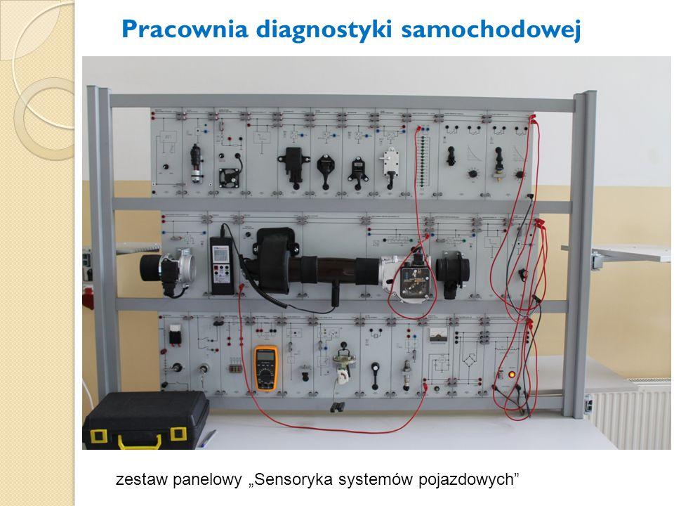 """zestaw panelowy """"Sensoryka systemów pojazdowych"""" Pracownia diagnostyki samochodowej"""