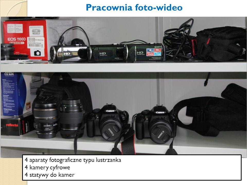 4 aparaty fotograficzne typu lustrzanka 4 kamery cyfrowe 4 statywy do kamer Pracownia foto-wideo