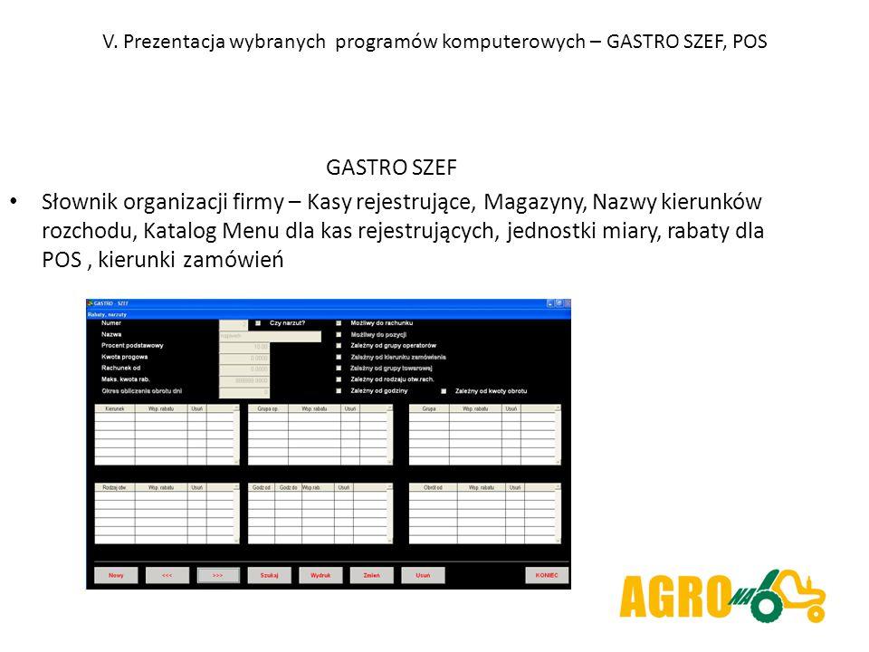 V. Prezentacja wybranych programów komputerowych – GASTRO SZEF, POS GASTRO SZEF Słownik organizacji firmy – Kasy rejestrujące, Magazyny, Nazwy kierunk
