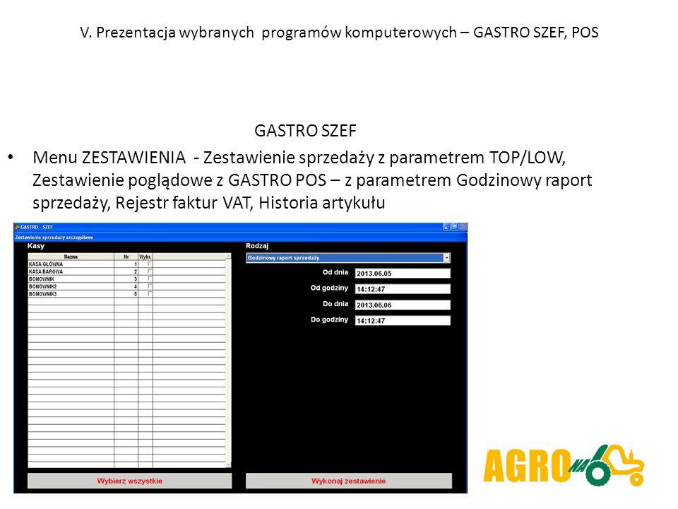 V. Prezentacja wybranych programów komputerowych – GASTRO SZEF, POS GASTRO SZEF Menu ZESTAWIENIA - Zestawienie sprzedaży z parametrem TOP/LOW, Zestawi