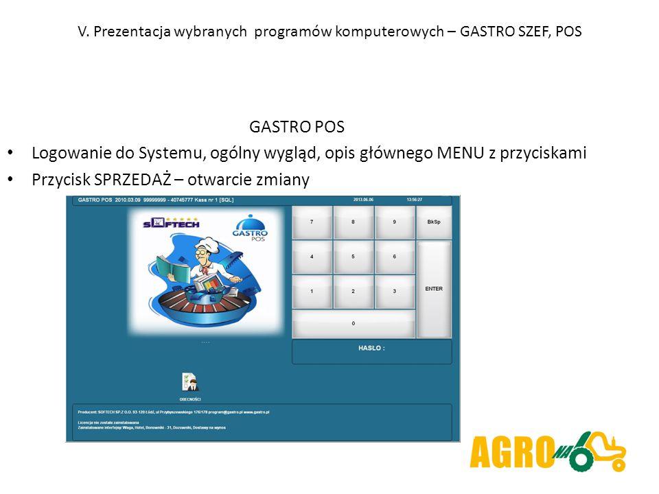 V. Prezentacja wybranych programów komputerowych – GASTRO SZEF, POS GASTRO POS Logowanie do Systemu, ogólny wygląd, opis głównego MENU z przyciskami P
