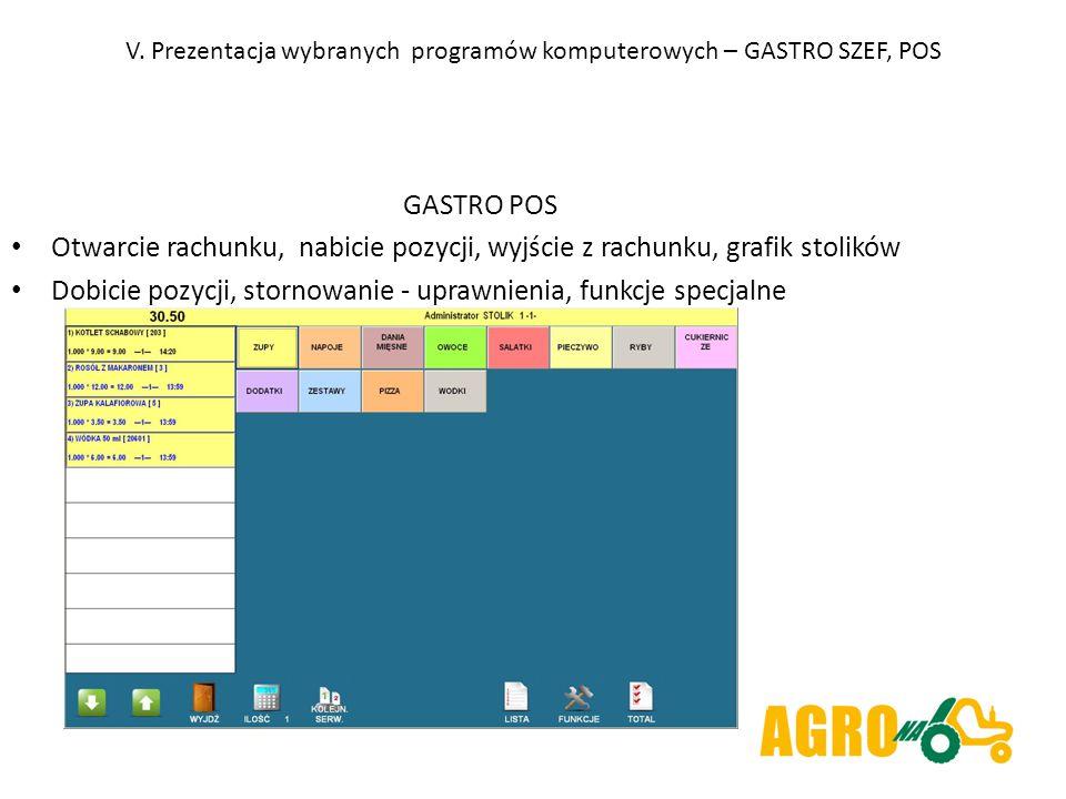 V. Prezentacja wybranych programów komputerowych – GASTRO SZEF, POS GASTRO POS Otwarcie rachunku, nabicie pozycji, wyjście z rachunku, grafik stolików