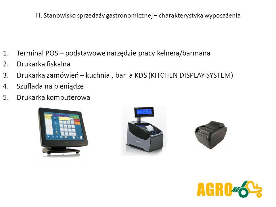 III. Stanowisko sprzedaży gastronomicznej – charakterystyka wyposażenia 1.Terminal POS – podstawowe narzędzie pracy kelnera/barmana 2.Drukarka fiskaln