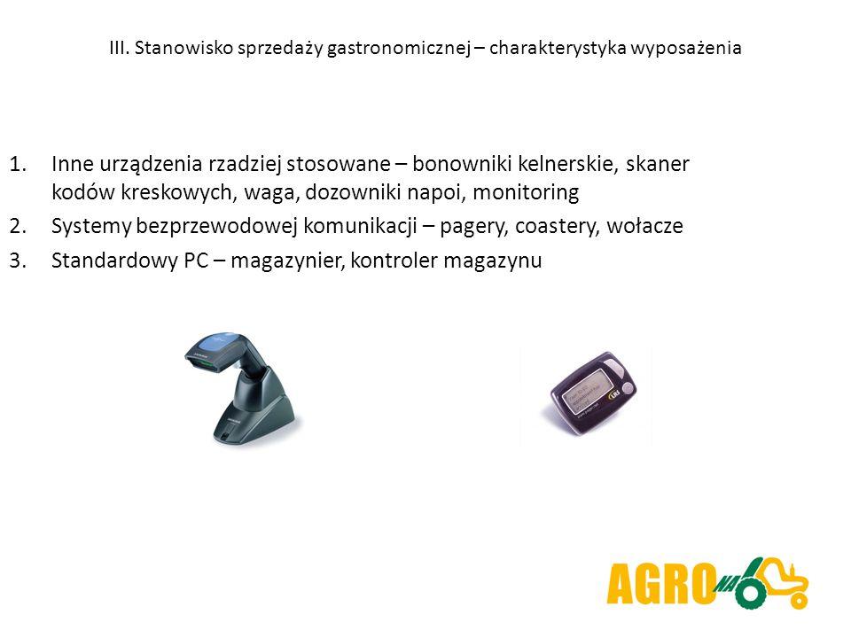 III. Stanowisko sprzedaży gastronomicznej – charakterystyka wyposażenia 1.Inne urządzenia rzadziej stosowane – bonowniki kelnerskie, skaner kodów kres