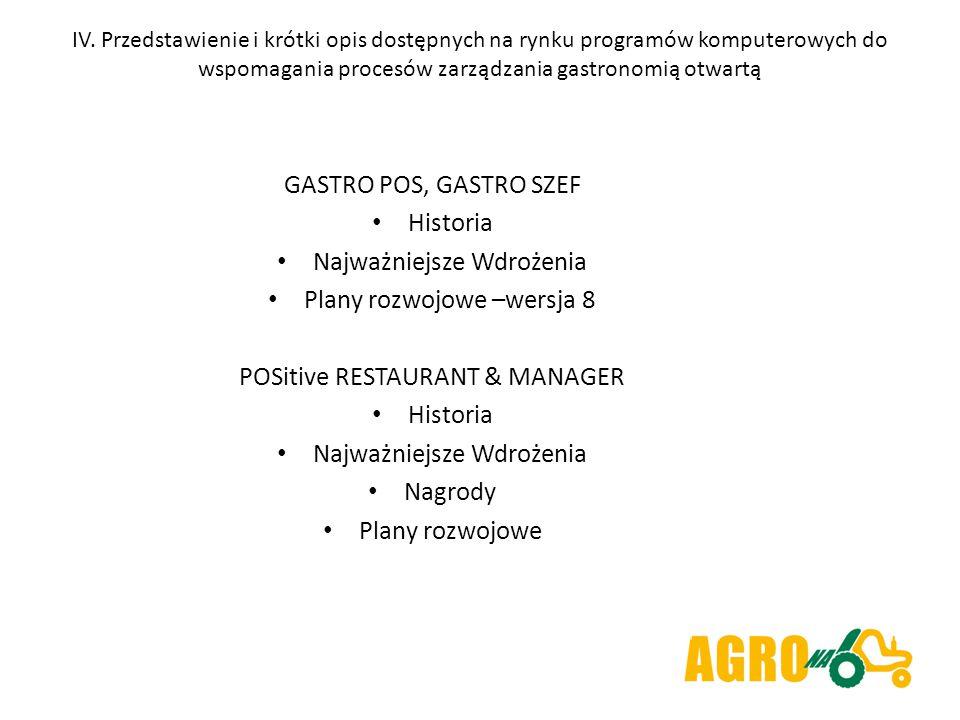 IV. Przedstawienie i krótki opis dostępnych na rynku programów komputerowych do wspomagania procesów zarządzania gastronomią otwartą GASTRO POS, GASTR
