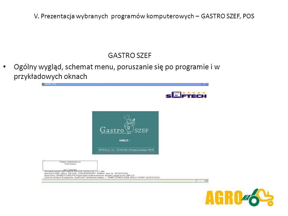 V. Prezentacja wybranych programów komputerowych – GASTRO SZEF, POS GASTRO SZEF Ogólny wygląd, schemat menu, poruszanie się po programie i w przykłado