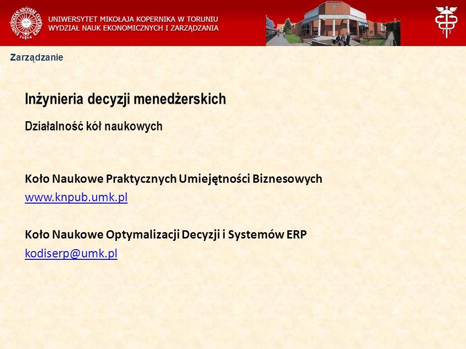 Zarządzanie Inżynieria decyzji menedżerskich Działalność kół naukowych Koło Naukowe Praktycznych Umiejętności Biznesowych www.knpub.umk.pl Koło Naukow