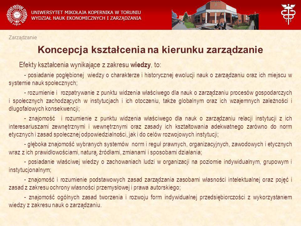 Zarządzanie Z zakresu umiejętności najważniejsze efekty kształcenia w procesie edukacji studentów WNEiZ UMK w Toruniu to : - znajomość metod prognozowania zjawisk gospodarczych, identyfikacja problemów, które wiążą się z praktyką funkcjonowania i rozwoju instytucji; - samodzielne identyfikowanie problemów badawczych i zawodowych oraz poszukiwanie ich rozwiązań, przewidywanie konsekwencji zastosowanych koncepcji; - posiadanie umiejętności przygotowania pracy magisterskiej w zakresie zarządzania z wykorzystaniem wszelkich dostępnych źródeł oraz metod badawczych niezbędnych do rozwiązania określonego problemu; - znajomość języka angielskiego na poziomie B 2+ (Europejskiego Systemu Opisu Kształcenia Językowego) oraz umiejętność wystąpień ustnych w języku angielskim; - projektowanie, analizowanie i stosowanie nowoczesnych i zaawansowanych metod i technik zarządzania w różnorodnych pracach badawczych.
