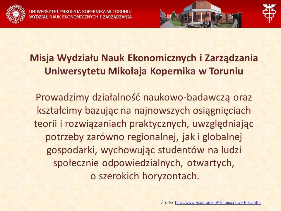 Misja Wydziału Nauk Ekonomicznych i Zarządzania Uniwersytetu Mikołaja Kopernika w Toruniu Prowadzimy działalność naukowo-badawczą oraz kształcimy bazu