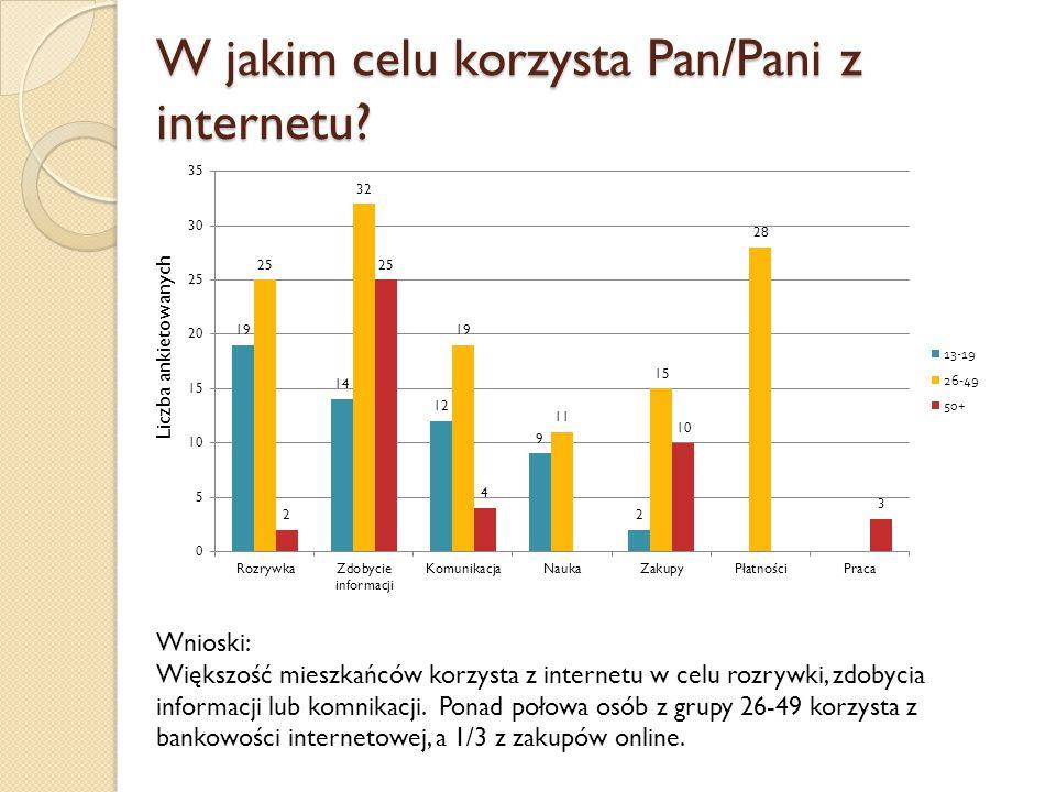 W jakim celu korzysta Pan/Pani z internetu? Wnioski: Większość mieszkańców korzysta z internetu w celu rozrywki, zdobycia informacji lub komnikacji. P