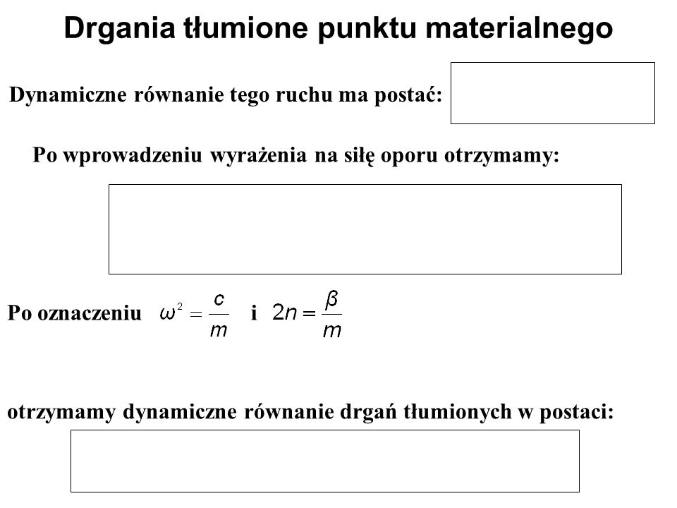 Drgania wymuszone punktu materialnego Całka ogólna różniczkowego równania ruchu ma postać – jest amplitudą drgań wymuszonych: Drgania wymuszone są sumą dwu drgań harmonicznych: - drgań swobodnych o częstości kątowej  - drgań wywołanych siłą wymuszającą o częstości kątowej p Działanie siły wymuszającej wywołuje drgania harmoniczne, które nakładają się na drgania swobodne.