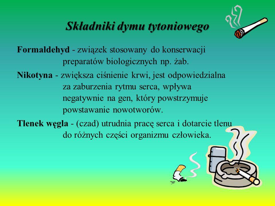 Składniki dymu tytoniowego Formaldehyd - związek stosowany do konserwacji preparatów biologicznych np. żab. Nikotyna - zwiększa ciśnienie krwi, jest o