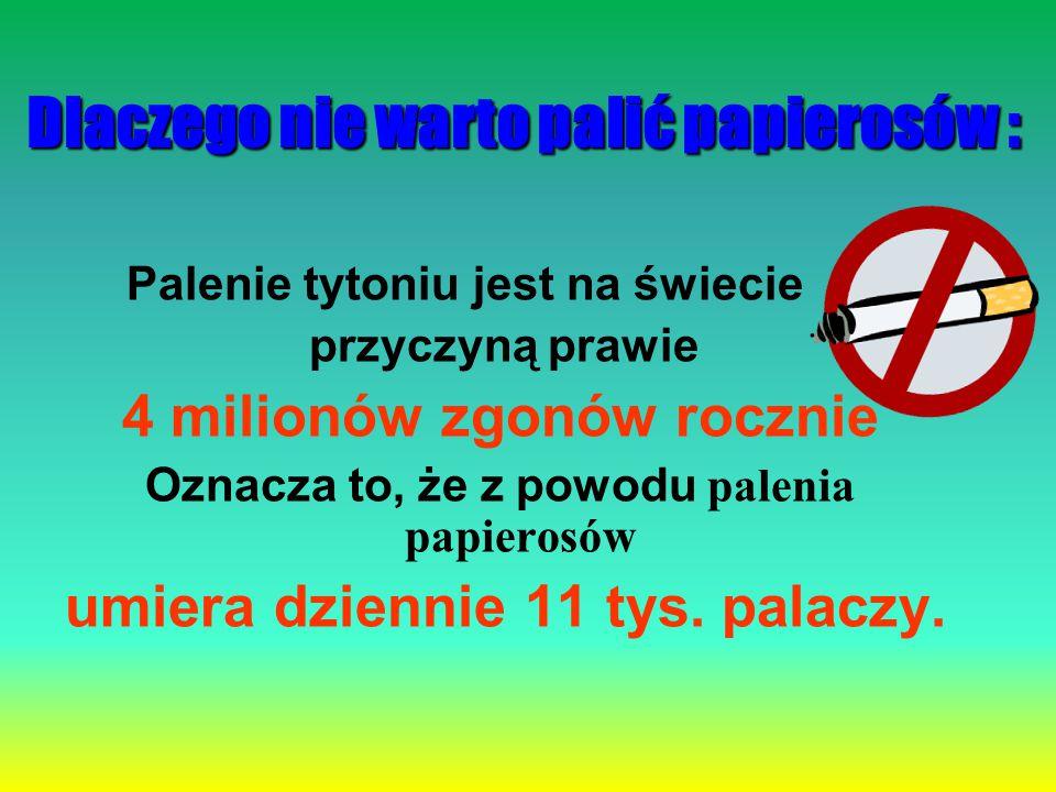 Dlaczego nie warto palić papierosów : Palenie tytoniu jest na świecie przyczyną prawie 4 milionów zgonów rocznie Oznacza to, że z powodu palenia papie
