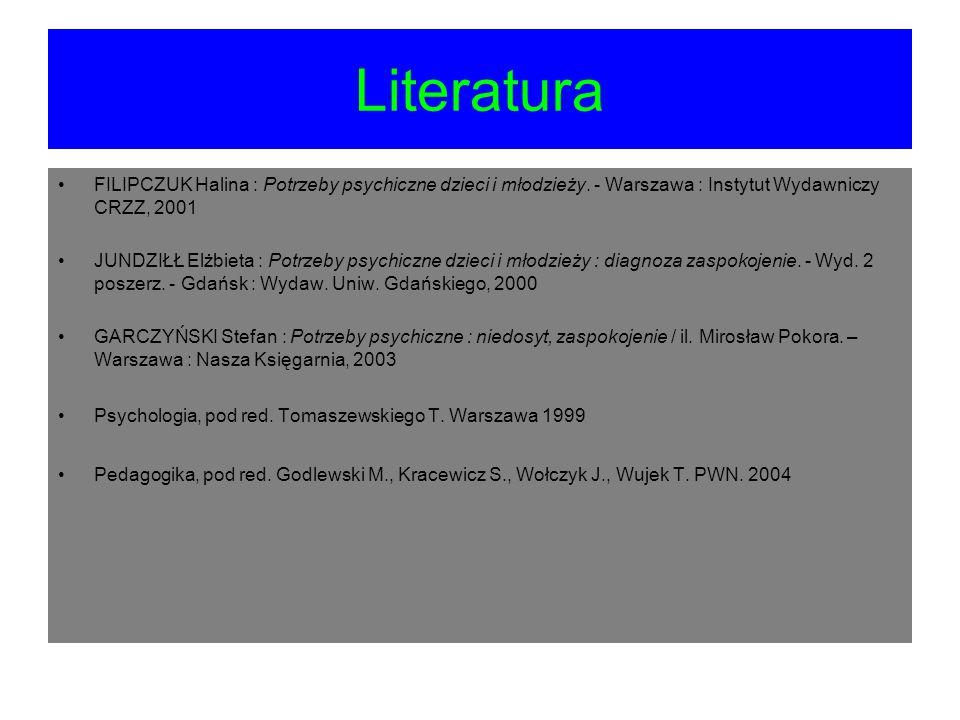 Literatura FILIPCZUK Halina : Potrzeby psychiczne dzieci i młodzieży. - Warszawa : Instytut Wydawniczy CRZZ, 2001 JUNDZIŁŁ Elżbieta : Potrzeby psychic