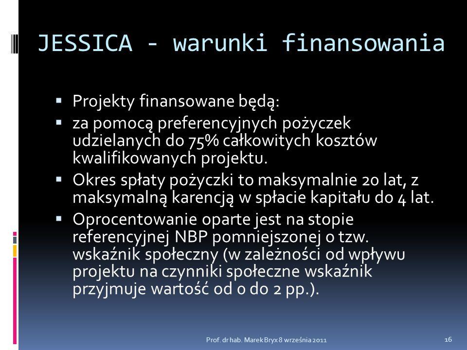 JESSICA - warunki finansowania  Projekty finansowane będą:  za pomocą preferencyjnych pożyczek udzielanych do 75% całkowitych kosztów kwalifikowanyc