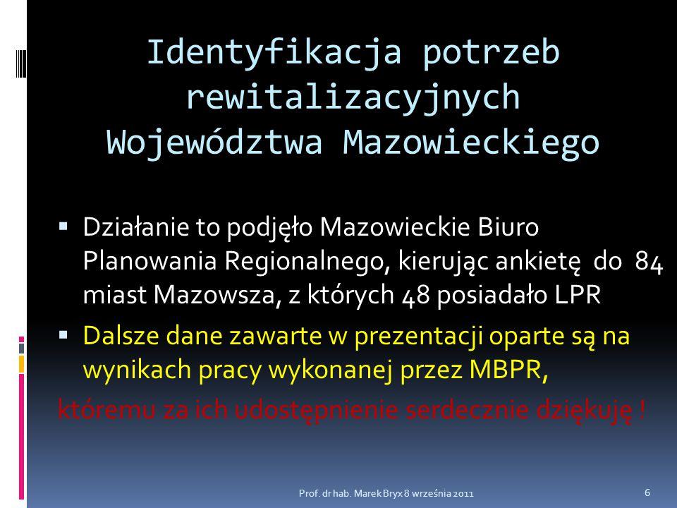 Identyfikacja potrzeb rewitalizacyjnych Województwa Mazowieckiego  Działanie to podjęło Mazowieckie Biuro Planowania Regionalnego, kierując ankietę d
