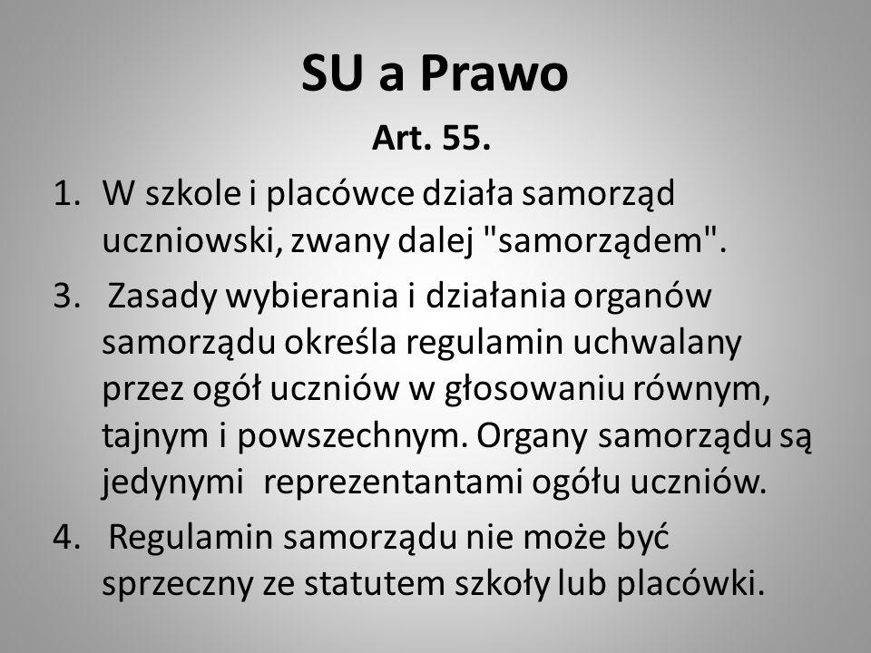 SU a Prawo Art. 55. 1.W szkole i placówce działa samorząd uczniowski, zwany dalej