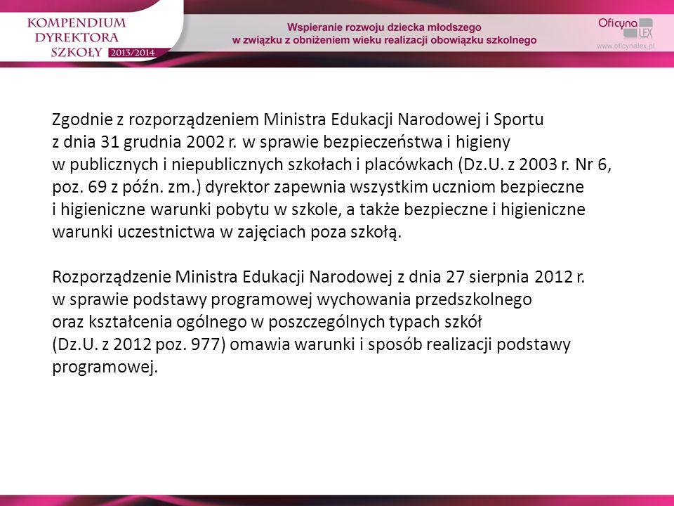 Zgodnie z rozporządzeniem Ministra Edukacji Narodowej i Sportu z dnia 31 grudnia 2002 r. w sprawie bezpieczeństwa i higieny w publicznych i niepublicz