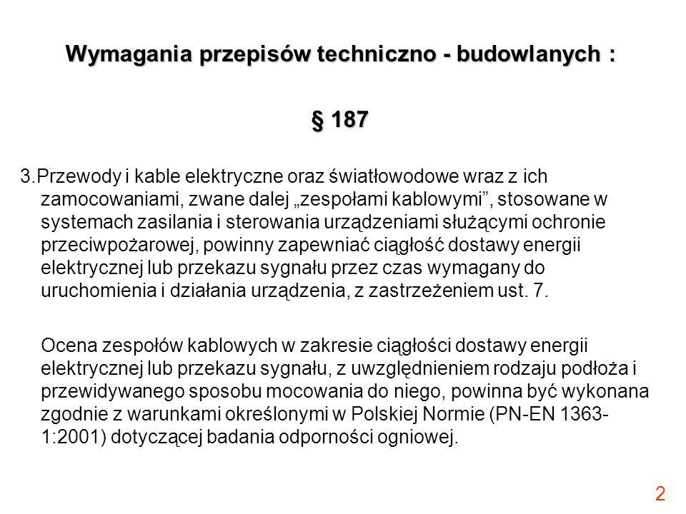 """2 Wymagania przepisów techniczno - budowlanych : § 187 3.Przewody i kable elektryczne oraz światłowodowe wraz z ich zamocowaniami, zwane dalej """"zespoł"""