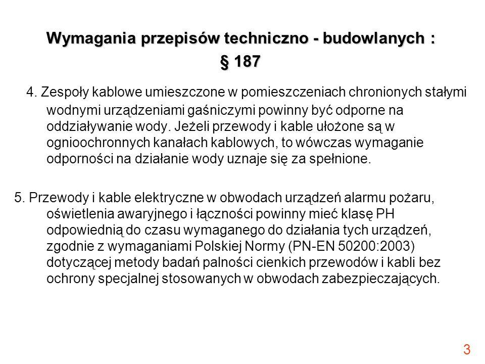 3 Wymagania przepisów techniczno - budowlanych : § 187 4. Zespoły kablowe umieszczone w pomieszczeniach chronionych stałymi wodnymi urządzeniami gaśni