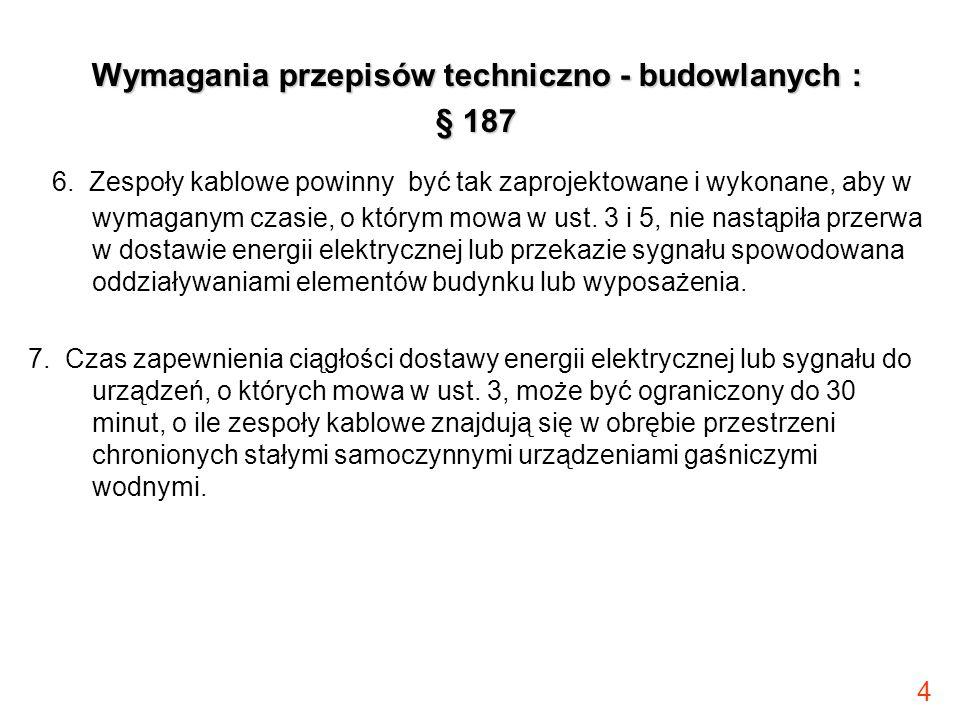 4 Wymagania przepisów techniczno - budowlanych : § 187 6. Zespoły kablowe powinny być tak zaprojektowane i wykonane, aby w wymaganym czasie, o którym