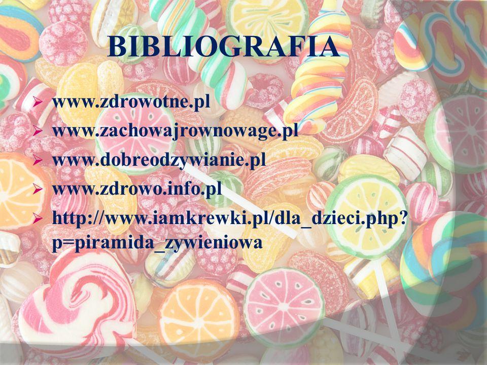 BIBLIOGRAFIA  www.zdrowotne.pl  www.zachowajrownowage.pl  www.dobreodzywianie.pl  www.zdrowo.info.pl  http://www.iamkrewki.pl/dla_dzieci.php? p=p