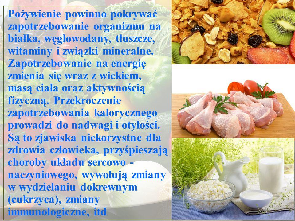 Pożywienie powinno pokrywać zapotrzebowanie organizmu na białka, węglowodany, tłuszcze, witaminy i związki mineralne. Zapotrzebowanie na energię zmien
