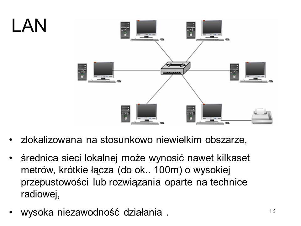 LAN zlokalizowana na stosunkowo niewielkim obszarze, średnica sieci lokalnej może wynosić nawet kilkaset metrów, krótkie łącza (do ok.. 100m) o wysoki