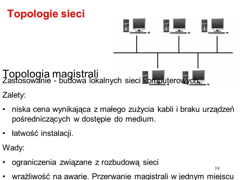 Topologia magistrali Zastosowanie - budowa lokalnych sieci komputerowych, Zalety: niska cena wynikająca z małego zużycia kabli i braku urządzeń pośred
